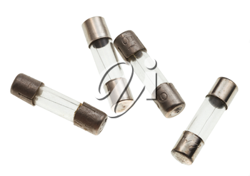 several thermal fuses isolated on white background