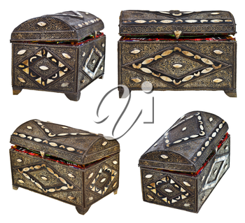 set of ancient bronze treasure chests isolated on white background