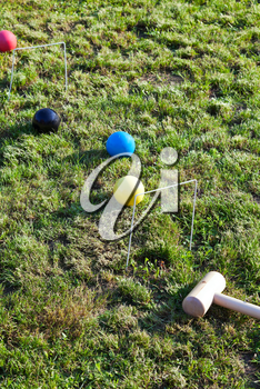 lawn for game of croquet in summer day
