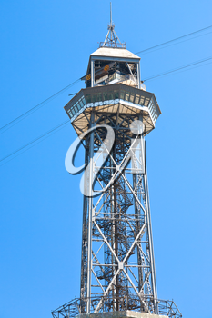 tower of Port Vell Aerial Tramway in Barcelona