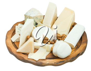 wooden plate with various cheeses isolated on white background