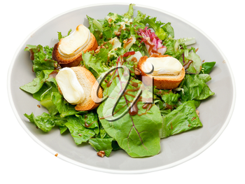 green salad with goat cheese on plate isolated on white background