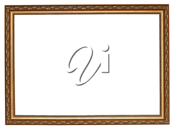 narrow gilted wooden picture frame with cut out canvas isolated on white background