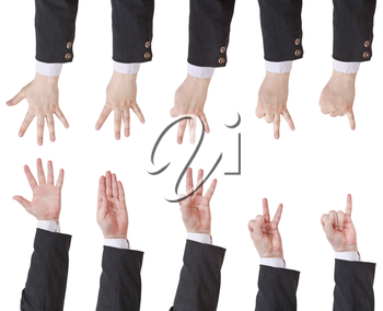 set of counting businessman hand gesture isolated on white background