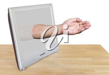 worker hand leads out TV screen isolated on white background
