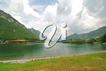 view of Lake Idro from Idro town, Lombardy, Italy