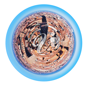 little planet - urban spherical panoramic view view from Asinelli Tower on Strada Maggiore in Bologna, Italy isolated on white background