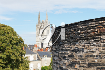 view of Saint Maurice Cathedral from Angers Castle, France