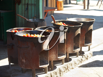 cooking of tatar dishes in outdoor cafe in Crimea