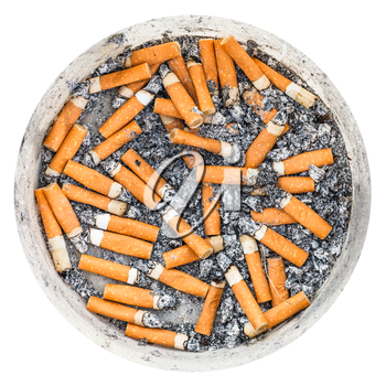 many cigarette butts in plastic ashpot isolated on white background