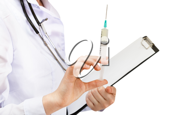 doctor holds syringe and clipboard isolated on white background