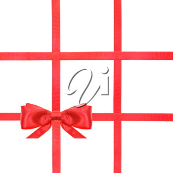 one red satin bow in lower left corner and four intersecting ribbons isolated on square white background