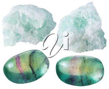 set of natural mineral gemstones - green Fluorite (fluorspar) tumbled gem stones and rocks isolated on white background close up