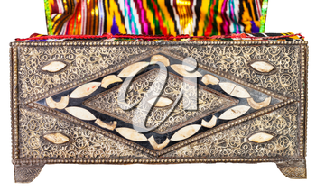 traditional ancient arabic Casket decorated by incrustation with textile upholstery isolated on white background
