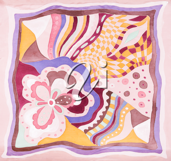 pink hand painted headscarf in batik technique with floral pattern
