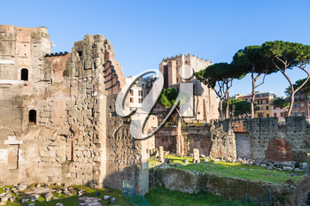 travel to Italy - Forum of Nerva and Torre dei Conti on ancient roman forums in Rome city