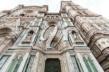 travel to Italy - facade of Florence Duomo Cathedral (Cattedrale Santa Maria del Fiore, Duomo di Firenze, Cathedral of Saint Mary of the Flowers) and Giotto's Campanile in morning