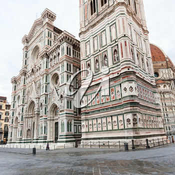 travel to Italy - view of Giotto's Campanile and Duomo Cathedral (Cattedrale Santa Maria del Fiore, Duomo di Firenze, Cathedral of Saint Mary of the Flowers) in Florence city in morning
