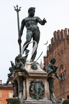 travel to Italy - figure of Neptune of fountain of neptune in Bologna city