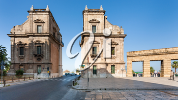 PALERMO, ITALY - JUNE 24, 2011: Porta Felice is monumental gateway in La Cala (old port) in Palermo city. Porta Felice was built in Renaissance and Baroque styles between the 16th and 17th centuries