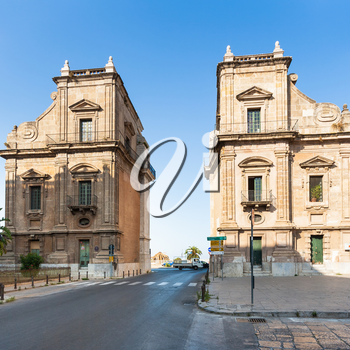 PALERMO, ITALY - JUNE 24, 2011: Porta Felice is city gate on via Cassaro in Palermo city. Porta Felice was built in Renaissance and Baroque styles between the 16th and 17th centuries