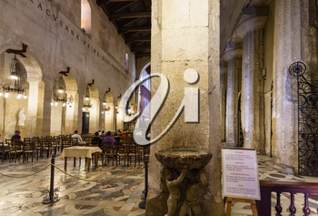 SYRACUSE, ITALY - JULY 3, 2011: interior of Duomo di Siracusa (Cathedral of Syracuse) in Sicily. The present cathedral was constructed by Saint Bishop Zosimo of Syracuse in the 7th century