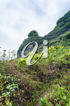 travel to China - overgrown slope of karst mountain in Yangshuo County in spring season