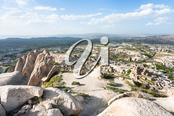 Travel to Turkey - observation deck over Uchisar village and valley in Nevsehir Province in Cappadocia in spring
