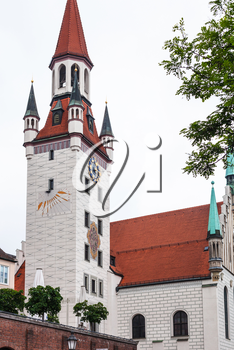 Travel to Germany - tower of Old Town Hall (Alte Rathaus) on Marienplatz in Munich city