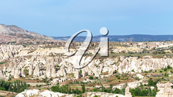 Travel to Turkey - mountain panorama in Goreme National Park in Cappadocia in sunny spring day