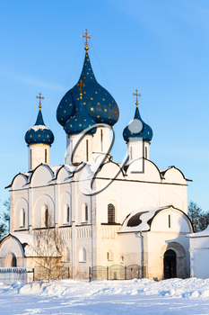 Cathedral of Nativity of the Virgin ( The Cathedral of the Nativity of the Theotokos) in Suzdal Kremlin in winter day in Vladimir oblast of Russia