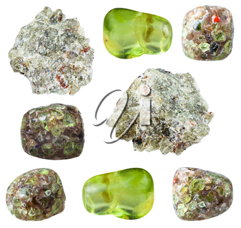 collection of natural mineral specimens - various Peridot (Chrysolite, Olivine) gem stones isolated on white background