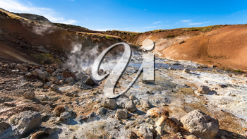 travel to Iceland - acidic springs in geothermal Krysuvik area on Southern Peninsula (Reykjanesskagi, Reykjanes Peninsula) in september