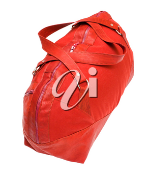 above view of red travelling bag isolated on white background