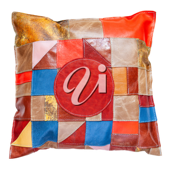 handmade colorful patchwork leather pillow isolated on white background