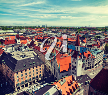 Vintage retro effect filtered hipster style travel image of aerial view of Munich - Marienplatz and Altes Rathaus, Bavaria, Germany