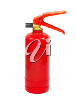 Red fire extinguisher isolated on white background.