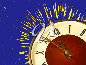 Eve of new year.Dial of hours taken closeup and yellow fireworks on blue background.