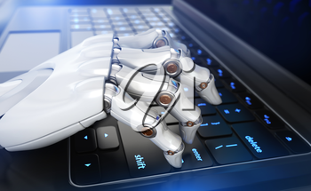 Robot's hand typing on keyboard. 3D illustration