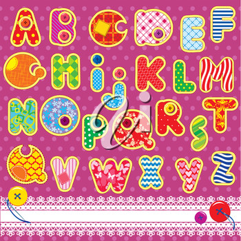 Patchwork ABC alphabet - letters are made of different ornamental fabrics