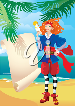 Pirate girl with old parchment map and parrot