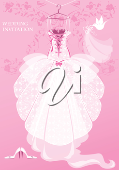 Wedding Dress, shoes and bridal veil on pink background. Wedding invitation card.