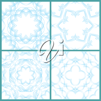 Set of seamless patterns - Guilloche ornamental Elements for Certificate, Money, Diploma, Voucher, decorative round frames. Vintage backgrounds.