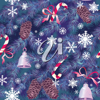 Christmas and New Year background in blue colors - fir tree texture with x-mas accessories and snowflakes - seamless pattern.