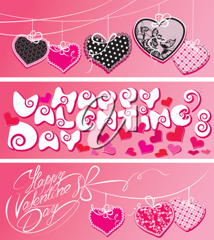 Set of 3 horizontal banners. Happy Valentine`s Day. Calligraphic elements, holiday cards with hearts and handwritten text