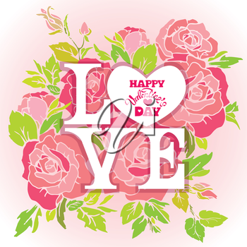 Floral card with Love word on pink roses flowers background and calligraphic hand drawn text Happy Valentines day, for greeting cards, Wedding invitations, posters, prints.