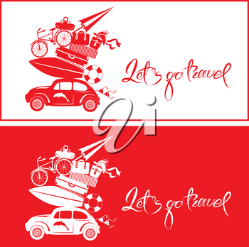 Set of Seasonal cards with small and cute retro travel car with luggage, red and white colors. Calligraphic handwritten text Let`s go travel. Element for summer greeting cards, posters and t-shirts pr