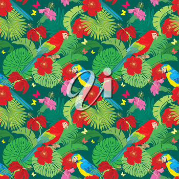 Seamless pattern with palm trees leaves, Frangipani flowers and Blue Yellow and Red Blue Macaw parrots. Element for summer, travel and vacation design.