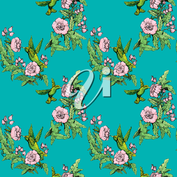 Seamless pattern. Colibri and flowers on blue background. Hand drawn image for floral design.
