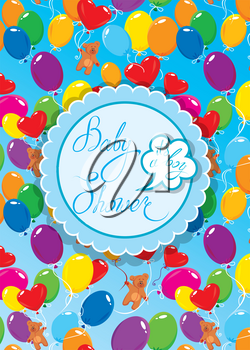 Baby Shower with round frame, air balloons and Teddy bears on blue background. Calligraphic text Its a boy. Congratulations on the birth of babyboy.